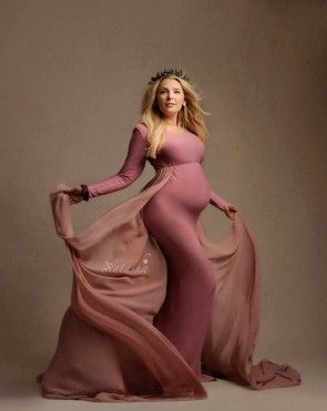 Alant Maternity Gown ON/LS old pink