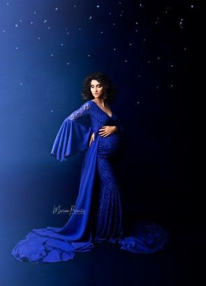 Flamboyant Maternity Gown Royal