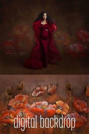 Digital Backdrop Orange Love by Danielle Hagens
